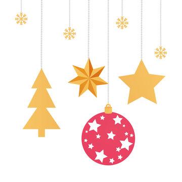 set balls with stars and pine tree christmas hanging design