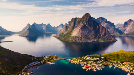Foto op Aluminium Noord Europa Fjord and mountains landscape. Lofoten islands Norway