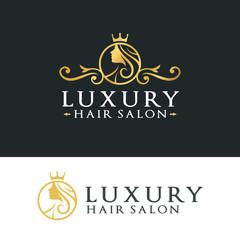 Illustration Beauty Women And Hair For Salon vintage Logo Design