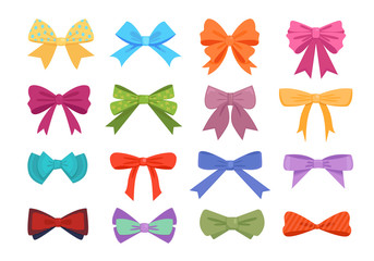 Gift bows colorful flat vector illustrations set