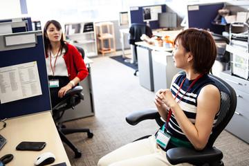 女性社員のオフィス風景