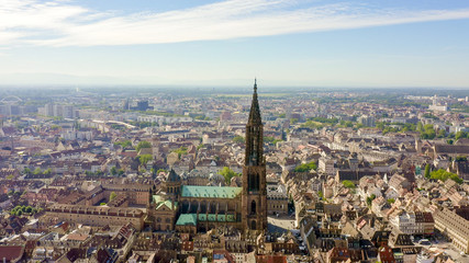 Strasbourg, France. The historical part of the city, Strasbourg Cathedral, Aerial View Fototapete