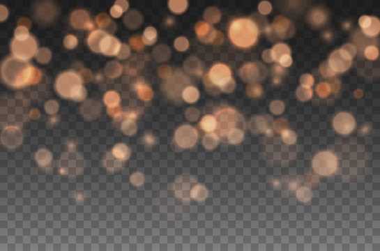 Bokeh lights effect isolated on transparent background. Vector Christmas glowing yellow and orange overlay sparkle texture.