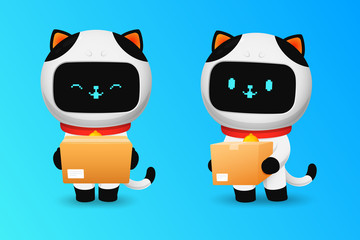 Collection of Cute cat robot character with parcel