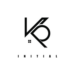 Obraz KP logo,in the construction icon.Design logo formed from a line, which becomes the letter. - fototapety do salonu
