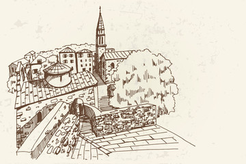 Wall Mural - vector sketch of old town in Budva, Montenegro