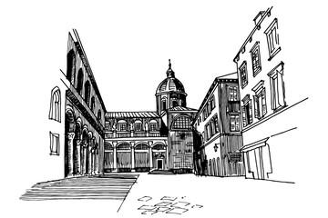 Wall Mural - Vector sketch of cathedral in Dubrovnik, Croatia.