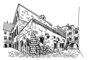 Wall Mural - Vector sketch of street scene in old Dubrovnik. Croatia