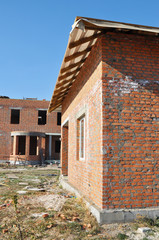 View on  new brick house construction