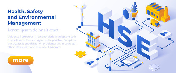 HSE - Health, Safety and Environmental Management. Web Banner for Business and Organization. Standards of Occupational Safety on Industrial Work.