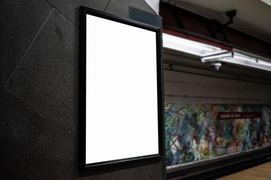 Mockups of white billboard on the subway