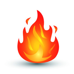 Fire burn emoji flames icon isolated on white background. Vector illustration social media Facebook Whatsapp Instagram Apple Google chat comment reactions, icon template