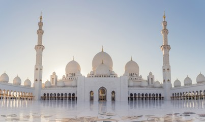 Low angle shot of the historic Sheikh Zayed mosque in Abu Dhabi, United Arab Emirates