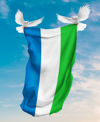 Sierra Leone flag carried by white pigeon with sky background