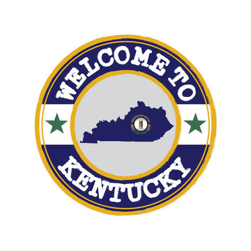 Vector stamp of welcome to Kentucky with map outline of the states in center. the states of America.