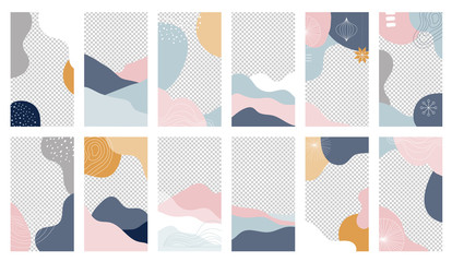 Collection of abstract background designs, shapes in clean Scandinavian trendy style. Story templates, winter sale, social media promotional content