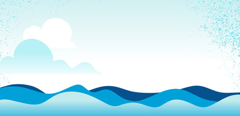 Blue sea / ocean waves and sky  background - Vector