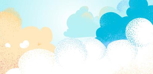Light blue cloudy summer sky background - Vector