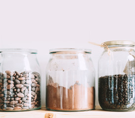 Bulk foods storage at low zero waste lifestyle.