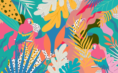 Colorful flowers and leaves poster background with parrots vector illustration design. Exotic tropical plants art print for travel and holiday, fashion, spa and wellness, wedding and events