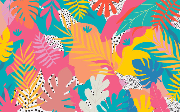 Colorful flowers and leaves poster background vector illustration. Exotic plants, branches, flowers and leaves art print for beauty, fashion and natural products, spa and wellness, wedding and events