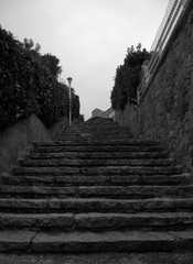 Black and white image of some stairs