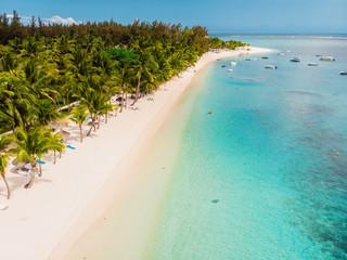 Foto auf Leinwand Blau Tropical beach in Mauritius. Sandy beach with palms and blue transparent ocean. Aerial view