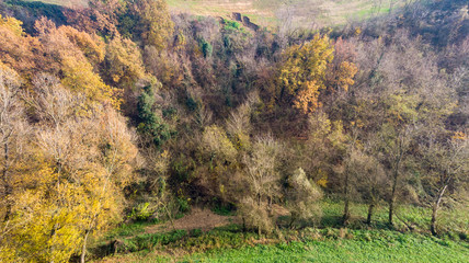 Autumn in the hills of Modena photographs with drone