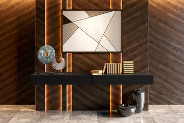 Modern interior with dark illuminated wooden walls, a stand with decor and a picture. Front view. 3d render
