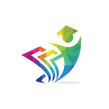Student vector logo design. Graduation logo vector on white background.