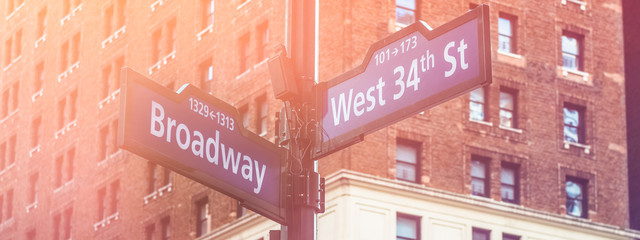 Image of crossing signs Broadway and 34th Street in Manhattan