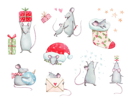 Cute set with New Year (Christmas) pretty mice (rats) with decorations, gift boxes, candies, christmas sock, snowflakes. Hand drawn watercolor illustration for winter design with new year 2020 symbol.