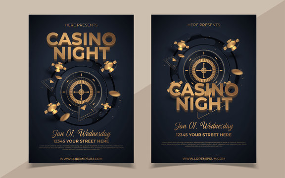 Casino night party template design with casino element on shiny black background and venue details.