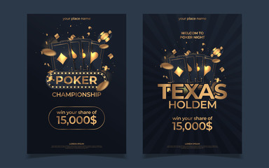 Casino poker tournament invitation design. Gold text with playing chip and cards. Poker party a4 flyer template. Applicable for promotion poster, banner. Vector illustration.