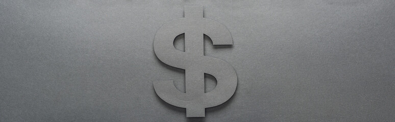 top view of dollar sign on grey background with shadow, panoramic shot