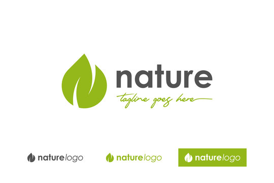 Green Nature Logo. Abstract Leaf and water symbol letter N Vector Logo Design Template Element