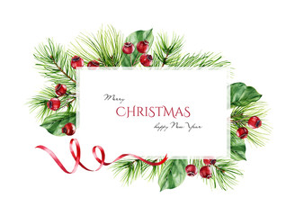 Christmas frame with pine branches, red berries, ribbon and place for text. Watercolor illustration isolated on white for greeting cards, invitations, calendars. Winter holidays background