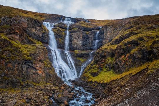 Rjukandi waterfall, Iceland. September 2019. cloudy day.