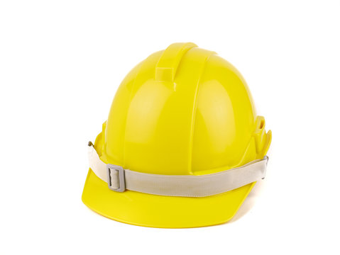 plastic yellow safety helmet or Construction hard hat concept safety project of workmen as engineer,isolated on white background