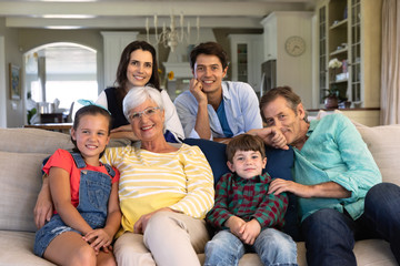 Family spending time together at home