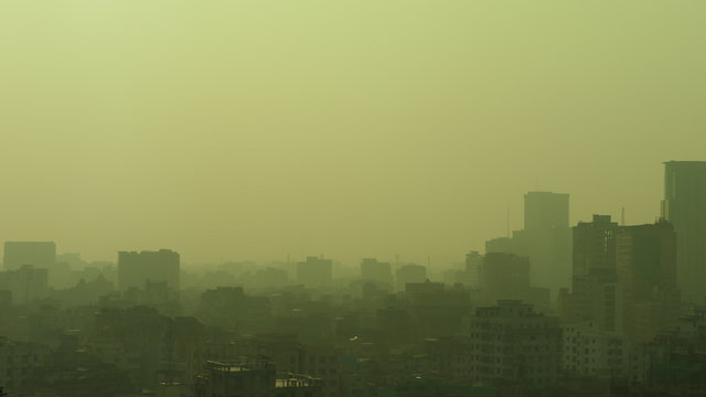 A very strong toxic and unhealthy dust in the morning in Dhaka Bangladesh, a city with a population of 20 million peoples.