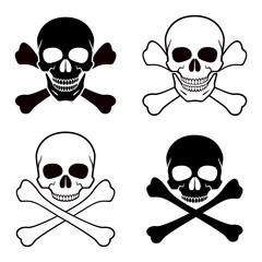 Human skull, crossbones. Symbol of danger. Abstract concept, icon set. Vector illustration on white background.