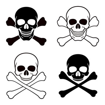 Human skull, crossbones. Symbol of danger. Abstract concept, icon set. Vector illustration on white background.