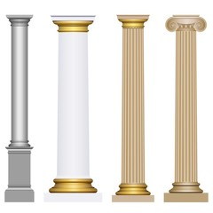 3D columns of different styles on a white background