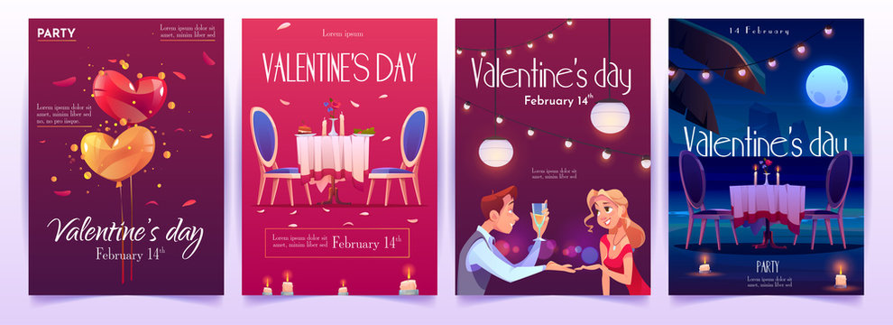 Valentine's day banners set. Invitation for romantic dating or party for couples in love for having dinner with champagne, meal and burning candles in intimate atmosphere. Cartoon vector illustration