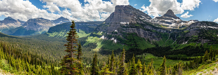 Mountains panorama in Glacier National park, Montana