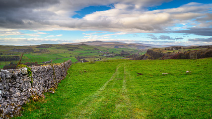 View towards Pen-Y-Ghent from near Winskill Stones, which is is a nature reserve above the village of Langcliffe in the Yorkshire Dales