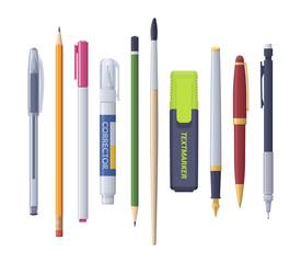 Pen pencil marker corrector brush sharp. Vector flat isolated stationery set