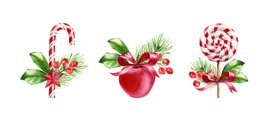 Watercolor Christmas sweets set. Hand painted illustration collection with lollypop, candy cane and red apple. Food art for winter holiday season, greeting cards, banners, calendars