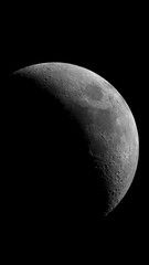 Waxing crescent Moon phase, isolated in the black space, in this phase there are some good craters.